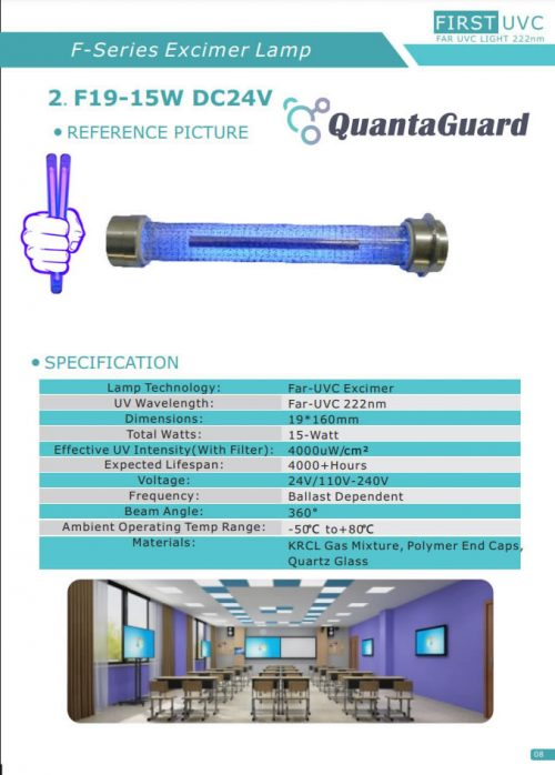 QuantaLamp 15-Watt Far UVC Excimer Bulb 222nm First-UVC F-Series 15w Far-UV Light 24V DC