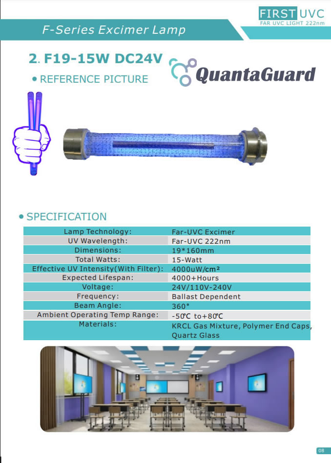 QuantaGuard Filtered 15W Far-UVC Light 222nm 24V DC FAR UVC Lighting 222 nm Excimer 15-Watt Lamp w/Remote Control and Motion Sensor
